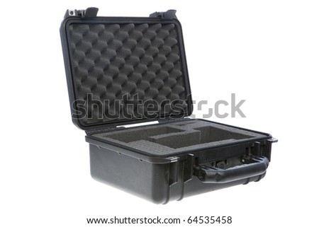 Case for protecting equipment. Studio shot. Isolation on white background. Side view.