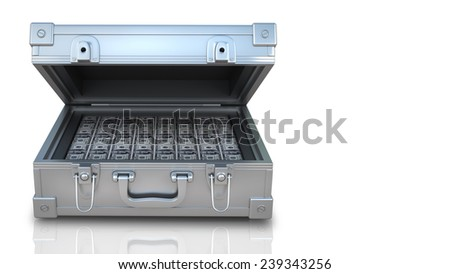 case full of dollar  isolated on white background. High resolution 3d