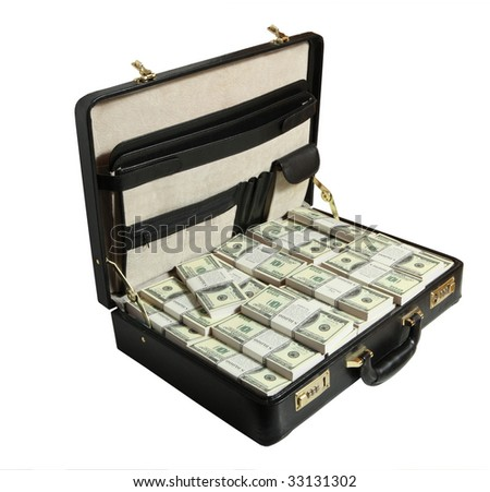 case full of dollar on white background - stock photo