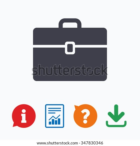 Case sign icon. Briefcase button. Information think bubble, question mark, download and report.