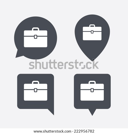 Case sign icon. Briefcase button. Map pointers information buttons. Speech bubbles with icons. - stock photo