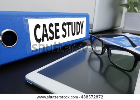 CASE STUDY  Office folder on Desktop on table with Office Supplies. ipad - stock photo