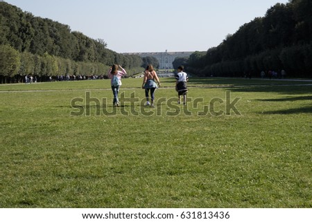 Caserta, Italy - April 22, 2017:  The park of the Royal Palace of Caserta, a former royal residence in Italy.