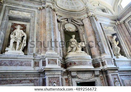 CASERTA, ITALY - AUGUST 26: View of decoration of Palazzo Reale in Caserta on It was the largest palace erected in Europe during the 18th century August 26 2016 in Caserta Italy