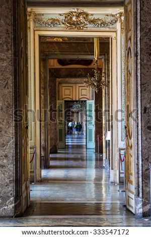 CASERTA, ITALY -  JUNE 1: Interior of Palazzo Reale in Caserta on June 1, 2014. It was the largest palace erected in Europe during the 18th century.