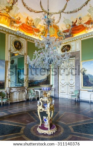 CASERTA, ITALY - JUNE 1: View over interior of Palazzo Reale in Caserta on June 1, 2014. It was the largest palace erected in Europe during the 18th century.
