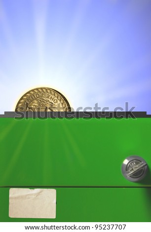 cash box with coin - stock photo