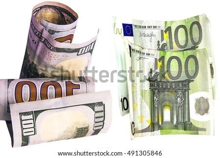 cash dollars and euros