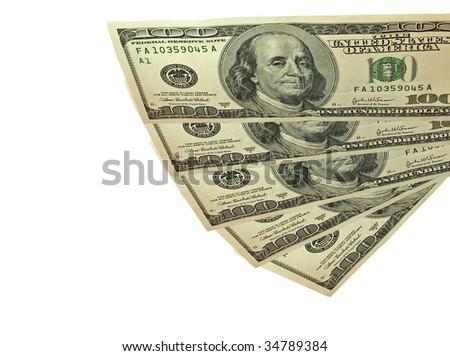 Cash fan of on hundred dollar bills - stock photo