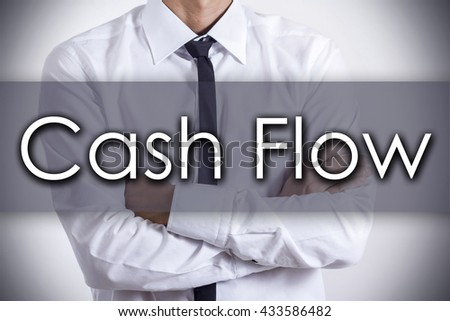 Cash Flow - Closeup of a young businessman with text - business concept - horizontal image