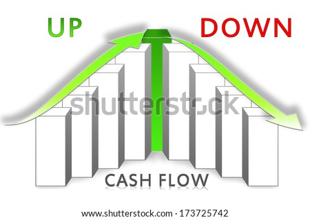 cash flow graph over a white background - stock photo