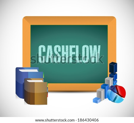 cash-flow sign message illustration design over a white background - stock photo