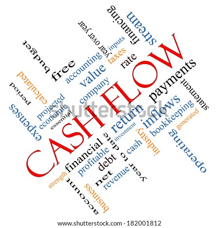 Cash Flow Word Cloud Concept angled with great terms such as return, investment, payments and more. - stock photo