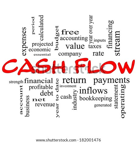 Cash Flow Word Cloud Concept in red caps with great terms such as return, investment, payments and more.