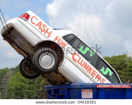 cash for clunkers for incentive to buy more fuel saving cars. - stock photo