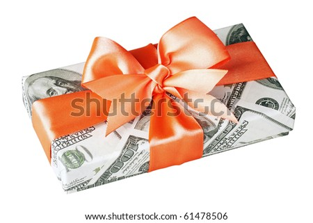 cash gift isolated on a white background - stock photo