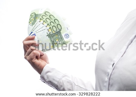 Cash in euro currency isolated on white background - stock photo