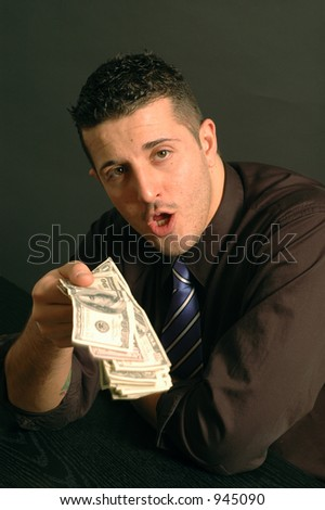cash in hand copy space black model released - stock photo