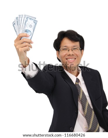 Cash in smile business man hand on white background.