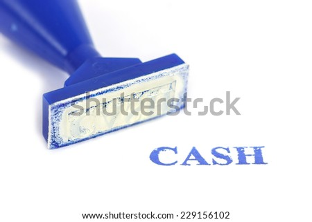 Cash letter on blue rubber stamp isolated on white background - stock photo