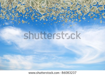 Cash, on 100 dollars, falling with the sky. - stock photo