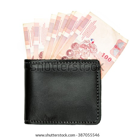 cash or money in black leather purse or wallet isolated on white background and no shadow - stock photo