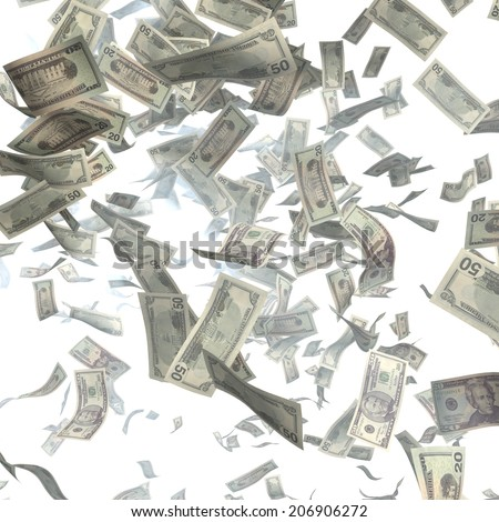 Cash, paper dollars, falling with the heaven. Finance illustration - stock photo