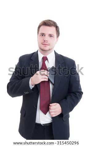 Cash payment concept with businessman pulling wallet from suit jacket isolated on white