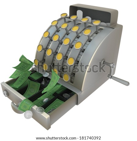 Cash register 3d model isolated with white background - stock photo