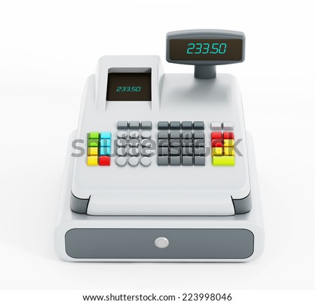 Cash register isolated on white background.