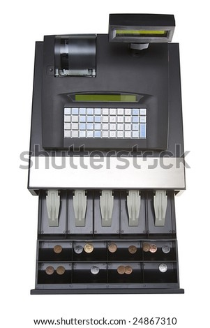 cash register with coins