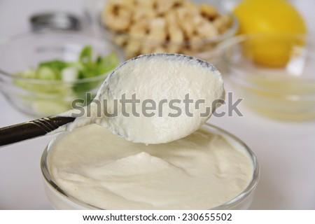 cashew mayo upclose - stock photo