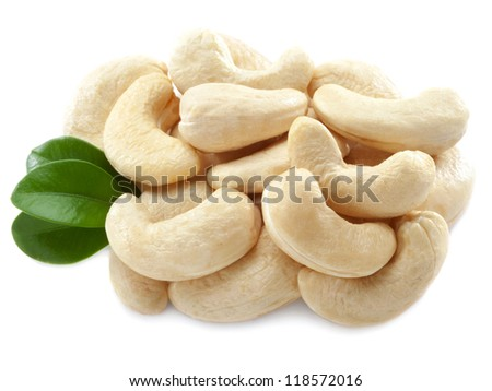 Cashew nuts isolated on white background. - stock photo