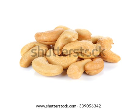 cashew nuts isolated on white background - stock photo