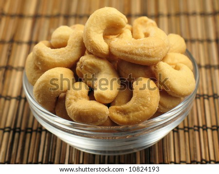 Cashews in a Small Bowl - stock photo