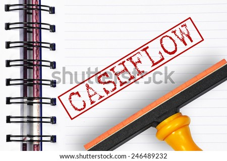 Cashflow rubber stamp on the note book - stock photo