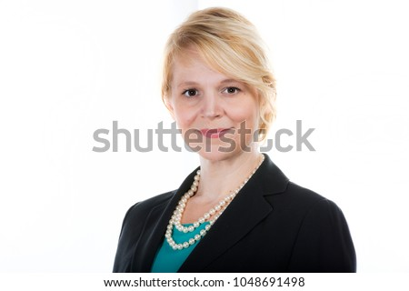 Cashual headshot of a business woman isolated on white.