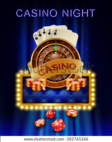 Casino background with cards, chips, craps and roulette on fire.  - stock photo