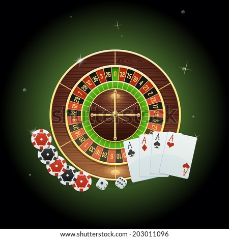 Casino background with roulette, cards, dice and chips - stock photo