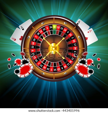 Casino Background with Roulette Wheel