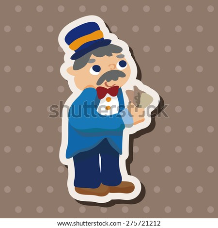 casino boss owner , cartoon sticker icon - stock photo