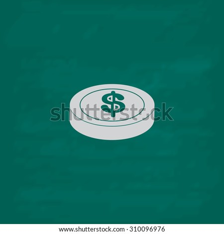 Casino chip.  Icon. Imitation draw with white chalk on green chalkboard. Flat Pictogram and School board background. Illustration symbol - stock photo