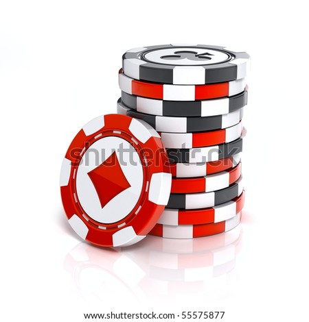 Casino chip stacks over white background - stock photo