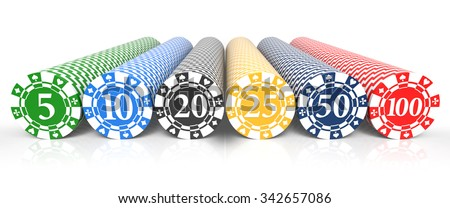 Casino chip stacks over white background. 3d rendering