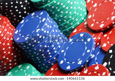 Casino chips as a background close up - stock photo