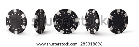 Casino chips, isolated on white background - stock photo