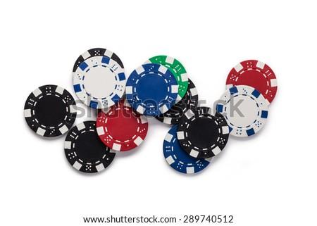 Casino chips, isolated on white background - stock photo