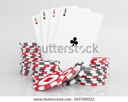 Casino chips with cards.Poker