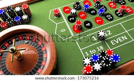 Casino complete table with roulette and chips, 3d render - stock photo