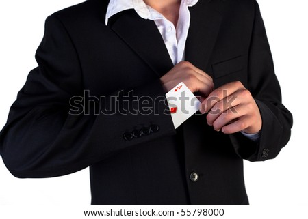 Casino dealer drawing card from his sleeve - stock photo
